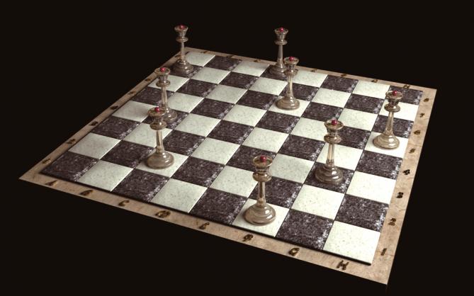 8×8 체스판에 퀸 8개를 올려놓는 8퀸 문제의 정답 중 하나. 모든 퀸이 서로 다른 세로줄과 가로줄, 대각선에 있다. - FlankerFF(w) 제공